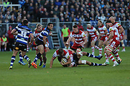 Gloucester second row Ed Slater (5) crashes to the ground with the ball after a tackle during the Aviva Premiership match between Bath Rugby and Gloucester Rugby at the Recreation Ground, Bath, United Kingdom on 29 October 2017. Photo by Gary Learmonth.