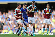 Oscar of Chelsea © is blocked by Jon Flanagan of Burnley. Premier league match, Chelsea v Burnley at Stamford Bridge in London on Saturday 27th August 2016.<br /> pic by John Patrick Fletcher, Andrew Orchard sports photography.