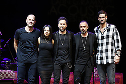 LOS ANGELES, CA - SEP 20: Recording artists Gian Marco, Becky G, Pablo Hurtado, Mario Domm and Melendi pose onstage at The Latin GRAMMY Acoustic Sessions at The Novo Theater September 20, 2017, in Downtown Los Angeles. Byline, credit, TV usage, web usage or linkback must read SILVEXPHOTO.COM. Failure to byline correctly will incur double the agreed fee. Tel: +1 714 504 6870.