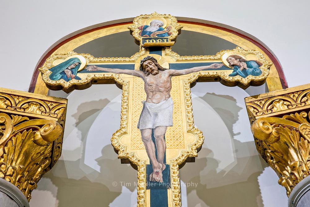 Ornate Crucifix in the apse of Sacred Heart of Jesus Catholic Church in Baton Rouge, La.
