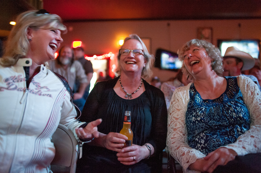Judy Breland (center), Andy Breland's wife, watching the premier of Dead End Express.