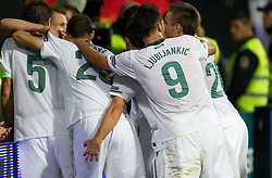 Dare Vrsic of Slovenia (L) celebrate with other players  after he scored during football match between National Teams of Slovenia and Serbia of UEFA Euro 2012 Qualifying Round in Group C on October 11, 2011, in Stadium Ljudski vrt, Maribor, Slovenia.  (Photo by Vid Ponikvar / Sportida)