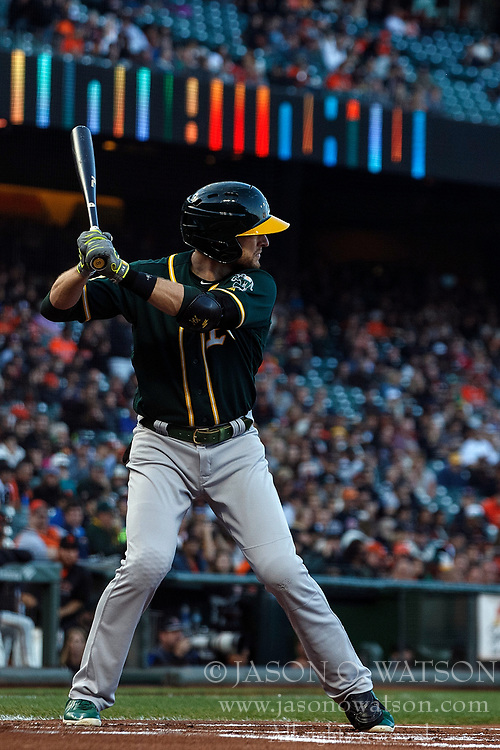 SAN FRANCISCO, CA - JULY 13: Jed Lowrie #8 of the Oakland Athletics at bat against the San Francisco Giants during the first inning at AT&T Park on July 13, 2018 in San Francisco, California. The San Francisco Giants defeated the Oakland Athletics 7-1. (Photo by Jason O. Watson/Getty Images) *** Local Caption *** Jed Lowrie
