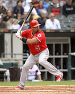 CHICAGO - SEPTEMBER 08: Albert Pujols #5 of the Los Angeles Angels bats against the Chicago White Sox on September 8, 2019 at Guaranteed Rate Field in Chicago, Illinois.  (Photo by Ron Vesely)  Subject:   Albert Pujols