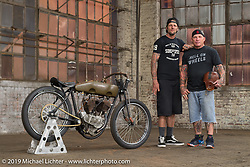 Rhett Rotton and Freddie Bollwage with Freddy's 1918 J Harley-Davidson Sons Of Speed board track racer built by Billy Lane and which Rhett raced in Daytona. At the Congregation Show. Charlotte, NC. USA. Saturday April 14, 2018. Photography ©2018 Michael Lichter.