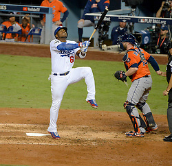 November 1, 2017 - Los Angeles, CA, United States - Dodgers Yasiel Puig, #66, reacts to a strike during 5th inning action at 7 at the World Series at Dodger Stadium Wednesday, November 1, 2017. (Credit Image: © David Crane/Los Angeles Daily News via ZUMA Wire)