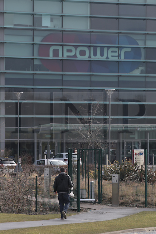 © Under licence to London News Pictures. 08/03/2016. A worker arrives at the Npower offices in Houghton-le-Spring, County Durham, UK. The company has announced it will cut 2,400 jobs in the UK by 2008. March 8th Photo Credit: Stuart Boulton/LNP