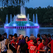 "The lights on the Fountain at Lake Eola park were changed to a rainbow theme, during the ""Marriage Equality Rally"" at the Lake Eola bandshell in downtown Orlando, Florida on Thursday, June 27, 2013. Orlando's gay community and its supporters are celebrating the U.S. Supreme Court rulings on gay marriage and the Defense of Marriage Act (DOMA) reversal that constitutionally denied legally married gay couples federal benefits. (AP Photo/Alex Menendez)"