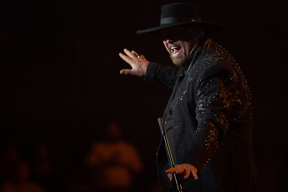 Montgomery Gentry's Eddie Montgomery during the band's performance at the the Hudson Family Foundation Concert at Auburn Arena in Auburn, Ala. on Saturday, Feb. 6, 2016.<br /> Zach Bland Photo