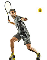 one caucasian mature tennis player man forehand silhouette full length in studio isolated on white background