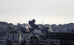May 5, 2019 - Gaza, Palestine - Smokes rises as Israeli missiles are dropped during air strikes on Gaza City, 05 May 2019. (Credit Image: © Sameh Rahmi/NurPhoto via ZUMA Press)