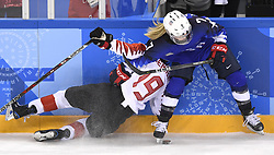 February 22, 2018 - Pyeongchang, South Korea - USA's MONIQUE LAMOUREUX-MORANDO draws a boarding penalty as she takes down Canada's BRIANNE JENNER in the second period of the Women's Gold Medal Ice Hockey game Thursday, February 22, 2018 at Gangneung Hockey Centre at the Pyeongchang Winter Olympic Games. Photo by Mark Reis, ZUMA Press/The Gazette (Credit Image: © Mark Reis via ZUMA Wire)