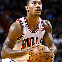 29 January 2012: Chicago Bulls point guard Derrick Rose (1) is seen at the free throw line during the Miami Heat 97-93 victory over the Chicago Bulls at the AmericanAirlines Arena, Miami, Florida, USA.
