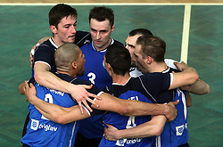Players of Salonit Anhovo at 4th and final match of Slovenian Voleyball  Championship  between OK Salonit Anhovo (Kanal) and ACH Volley (from Bled), on April 23, 2008, in Kanal, Slovenia. The match was won by ACH Volley (3:1) and it became Slovenian Championship Winner. (Photo by Vid Ponikvar / Sportal Images)/ Sportida)