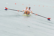 Munich, GERMANY, USA W2- Bow Zsuzsanna FRANCIA and Meghan MUSNICKI, Moves away from the pontoon in the Time trial heat,  Women's pair.  FISA World Cup on the Munich Olympic Rowing Course, Adaptive Rowing. Friday  27/05/2011  [Mandatory Credit Peter Spurrier/ Intersport Images].
