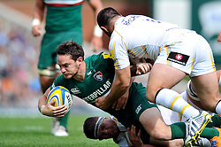 Leicester Tigers fly half Ryan Lamb is tackled to ground - Photo mandatory by-line: Patrick Khachfe/JMP - Tel: Mobile: 07966 386802 - 08/09/2013 - SPORT - RUGBY UNION - Welford Road Stadium - Leicester Tigers v Worcester Warriors - Aviva Premiership.