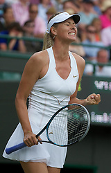 24.06.2011, Wimbledon, London, GBR, Wimbledon Tennis Championships, im Bild Maria Sharapova (RUS) celebrates winning the first set after a tie-break during the Ladies' Singles 2nd Round match on day five of the Wimbledon Lawn Tennis Championships at the All England Lawn Tennis and Croquet Club, EXPA Pictures © 2011, PhotoCredit: EXPA/ Propaganda/ *** ATTENTION *** UK OUT!