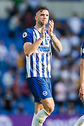 Shane Duffy (Brighton) thanking the Brighton & Hove Albion FC supporters following the Premier League match between Brighton and Hove Albion and Burnley at the American Express Community Stadium, Brighton and Hove, England on 14 September 2019.