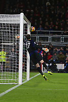 Football - 2017 / 2018 Premier League - AFC Bournemouth vs. Liverpool<br /> <br /> Bournemouth's Asmir Begovic fails to reach a Philippe Coutinho of Liverpool free kick as it hits the post at Dean Court (Vitality Stadium) Bournemouth <br /> <br /> COLORSPORT/SHAUN BOGGUST