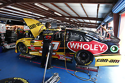 April 27, 2018 - Talladega, Alabama, United States of America - Matt DiBenedetto (32) hangs out in the garage during practice for the GEICO 500 at Talladega Superspeedway in Talladega, Alabama. (Credit Image: © Justin R. Noe Asp Inc/ASP via ZUMA Wire)