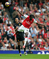 Photo: Tom Dulat/Sportsbeat Images.<br /> <br /> Arsenal v Manchester United. The FA Barclays Premiership. 03/11/2007.<br /> <br /> Emmanuel Adebayor of Arsenal and Rio Ferdinand of Manchester United with the ball.