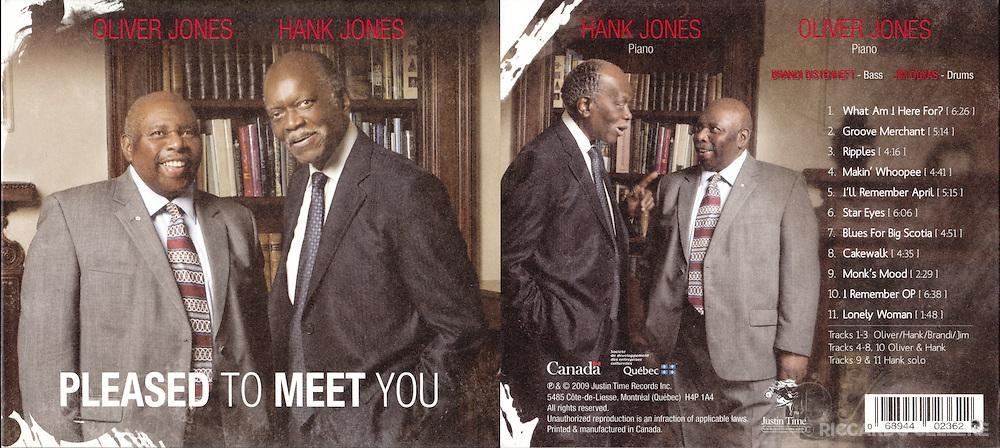 Album cover photography. Hank Jones and Oliver Jones - Pleased to Meet You. 2007.
