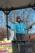 Bar Harbor, Maine, USA. 19 January, 2019. Star Gilmartin addresses the crowd gathered on the Village Green for the Women's March Bar Harbor, a sister march of the national Women's March.
