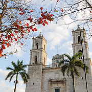 Front of the Cathedral of San Gervasio (Catedral De San Gervasio) in Valladolid in the heart of Mexico's Yucatan Peninsula.