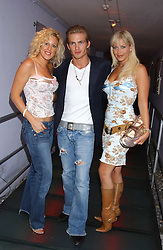 Left to right, BABETTE EDWARDS, JACOBI ANSTRUTHER-GOUGH-CALTHORPE tv presenter LIZ FULLER at a polo players party hosted by AJM International Publishing and Cartier celebrating the 21st anniversary of the Cartier International Polo held at The Collection, London SW3 on 19th July 2005.<br /><br />NON EXCLUSIVE - WORLD RIGHTS