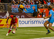 VANCOUVER, BC - MARCH 10: Justin Douglas (#8) of Canada scores a 2nd try during Game # 23- Canada vs Uruguay Pool A match at the Canada Sevens held March 10-11, 2018 in BC Place Stadium in Vancouver, BC. (Photo by Allan Hamilton/Icon Sportswire)