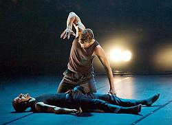 BalletBoyz®<br /> The Talent 2014<br /> at the Linbury Studio Theatre, Royal Opera House, Covent Garden, London, Great Britain <br /> 16th September 2014 <br /> Co-Founders & Artistic directors Michael Nunn & William Trevitt<br /> Triple Bill <br /> <br /> Mesmerics by Christopher Wheeldon <br /> Untitled by Kristen McNally <br /> The Murmuring by Alexander Whitely <br /> <br /> Dancers:<br /> <br /> Andrea Carrucciu<br /> Simone Donati<br /> Flavien Esmieu<br /> Marc Galvez<br /> Adam Kirkham<br /> Edward Pearce<br /> Leon Poulton<br /> Matthew Rees<br /> Matthew Sandiford<br /> Bradley Waller<br /> <br /> <br /> Photograph by Elliott Franks <br /> Image licensed to Elliott Franks Photography Services