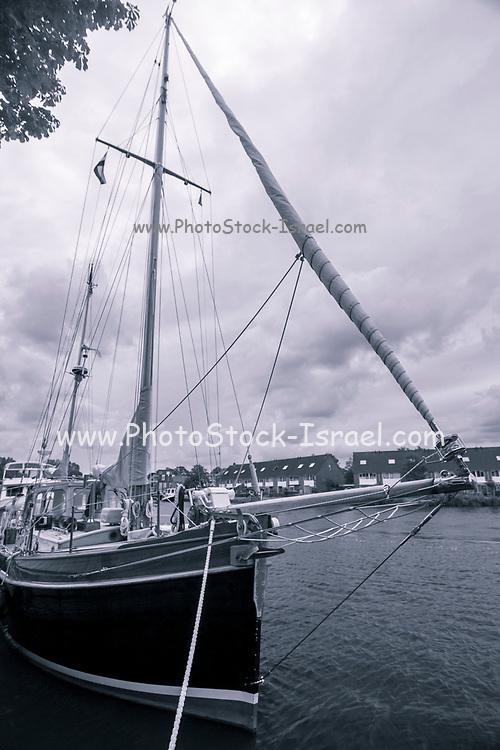 A yacht in port. Photographed in Alkmaar Netherlands