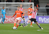 Blackpool's Callum Guy under pressure from Exeter City's Jake Taylor<br /> <br /> Photographer Kevin Barnes/CameraSport<br /> <br /> Emirates FA Cup First Round - Exeter City v Blackpool - Saturday 10th November 2018 - St James Park - Exeter<br />  <br /> World Copyright © 2018 CameraSport. All rights reserved. 43 Linden Ave. Countesthorpe. Leicester. England. LE8 5PG - Tel: +44 (0) 116 277 4147 - admin@camerasport.com - www.camerasport.com