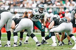 Philadelphia Eagles linebacker Akeem Jordan #56 during the NFL game between the Philadelphia Eagles and the Oakland Raiders. The Raiders won 13-9 at The Oakland-Alameda County Coliseum in Oakland, California. (Photo By Brian Garfinkel)
