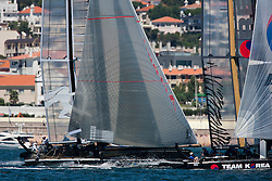 August 7th 2011, AC45 World Series, Second day of the Americas Cup World Series. One fleet race, followed by speed runs in front of the city front.