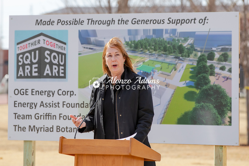 Myriad Gardens executive director Maureen Heffernan speaks at the ground breaking of Together Square in downtown Oklahoma City on Thursday, Feb. 21, 2019. Together Square is a collaboration between OGE Energy Corp., The Energy Assist Foundation, Team Griffin and Myriad Botanical Gardens that is creating a unique sports space in the heart of downtown. (Photo copyright © 2019 Alonzo J. Adams).