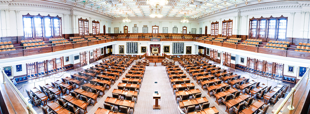 The House of Representatives Chamber of the Texas State Capitol in Austin, Texas. The House has 150 members and a regular session adds up to 140 days a year.  While the basic room layout is similar to the Senate Chamber, the colors and fittings distinguish it from the upper chamber.
