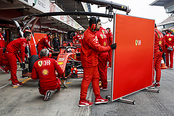 February 20, 2019 - Barcelona, Spain - Mechanics trying to hide the Scuderia Ferrari SF90 of Sebastian VETTEL from the photographers during Formula 1 winter tests from February 18 to 21, 2019 at Barcelona, Spain - Photo  /  Motorsports: FIA Formula One World Championship 2019, Test in Barcelona, (Credit Image: © Hoch Zwei via ZUMA Wire)