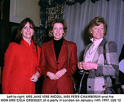 Left to right, MRS JANE VERE NICOLL, MRS PETER CHAMBERLIN and the HON.MRS CILLA CROSSLEY, at a party in London on January 14th 1997.LUU 12