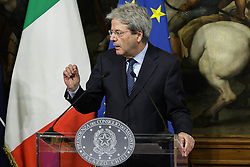 April 27, 2017 - Rome, Italy - NATO Secretary General Jens Stoltenberg (not pictured) and Italian Prime Minister Paolo Gentiloni hold joint news conference at Chigi Palace in Rome, Italy. (Credit Image: © Giuseppe Ciccia/Pacific Press via ZUMA Wire)