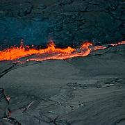 Aerial view of Kiluea Volcano and lava flow, Hawaii Volcanoes National Park.