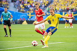 July 3, 2018 - St Petersburg, Russia - 180703 Ludwig Augustinsson of Sweden with a shot during the FIFA World Cup round of 16 match between Sweden and Switzerland on July 3, 2018 in ST Petersburg..Photo: Petter Arvidson / BILDBYRÃ…N / kod PA / 87748 (Credit Image: © Petter Arvidson/Bildbyran via ZUMA Press)