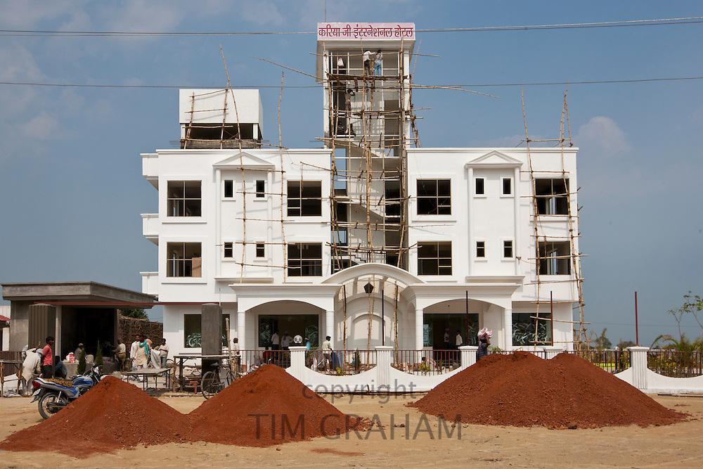 Economic growth in India - new luxury international hotel, Hotel Kariya Ji, being built near Varanasi Airport, India