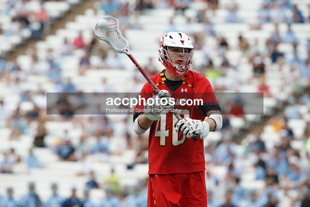 CHAPEL HILL, NC - MARCH 22: Brian Cooper #40 of the Maryland Terrapins during a game against the North Carolina Tar Heels on March 22, 2014 at Kenan Stadium in Chapel Hill, North Carolina. North Carolina won 11-8. (Photo by Peyton Williams/Inside Lacrosse)