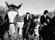 The New Year Hunt Meet at Brittas, Co. Dublin. Taoiseach Liam Cosgrave and others prepare to set out from Brittas Lodge in snowy conditions.<br />