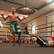 DAYTONA BEACH, FL - FEBRUARY 08:  Anthony Ortiz (L) celebrates after he knocks out Akihiro Nakamura in the first round during their boxing match at Hard Rock Hotel Daytona on February 8, 2020 in Daytona Beach, Florida. (Photo by Alex Menendez/Getty Images) *** Local Caption *** Anthony Ortiz; Akihiro Nakamura