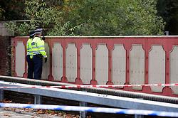 © Licensed to London News Pictures. 09/11/2016<br /> Croydon Tram OVERTURNS near Sandilands,Croydon.<br /> Police look over a bridge at the Tram.