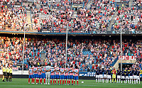 Atletico de Madrid's and Stromsgodset's players observe a minute of silence before UEFA Europa League third qualifying round match. July 28, 2011. (ALTERPHOTOS/Alvaro Hernandez)