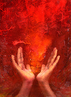 """Photo based mixed medium images of hands with red """"fire""""."""