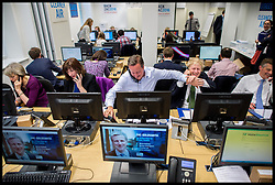 Image ©Licensed to i-Images Picture Agency. 12/04/2016. London, United Kingdom. Zac Goldsmith Campaigning. The Conservative Party Mayoral candidate Zac Goldsmith is joined by The Prime Minister David Cameron and members of the cabinet during phone canvassing at CCHQ. Picture by Andrew Parsons / i-Images
